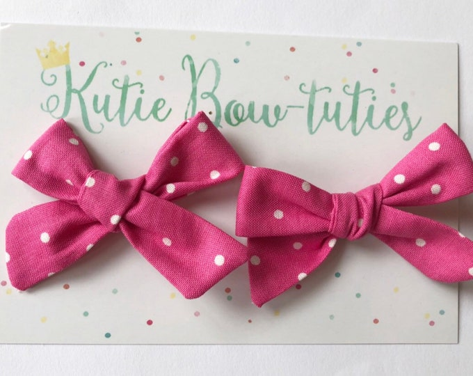 Polka Dot Pigtail Bows Clip or Headband || Hand Tied Bow || Hand tied Pigtail Bow || Handtied || Large Bow || Minnie Mouse Bow