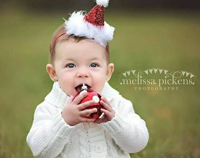 Ready to Ship Mini Santa Hat, Birthday Party Hat First Birthday, baby, Birthday, cake smash,  1st birthday, baby girl birthday, birthday