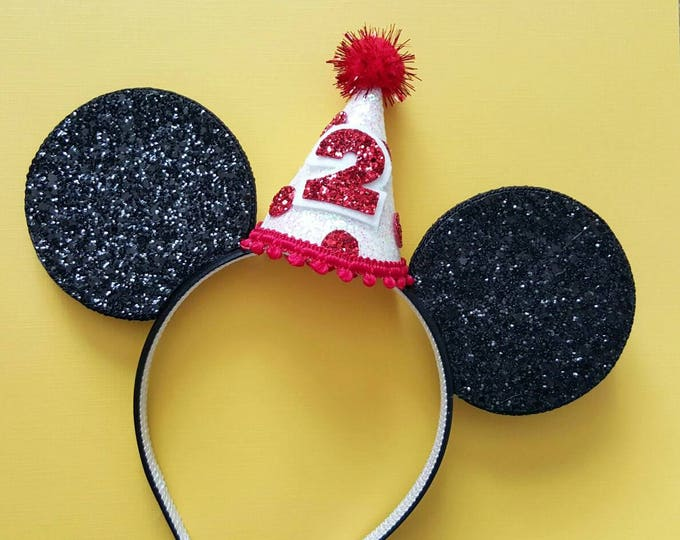 Glittery Mouse Ears Headband || Birthday Ears ||  Mouse Birthday || Birthday Mouse Ear Headband ||  Ears ||