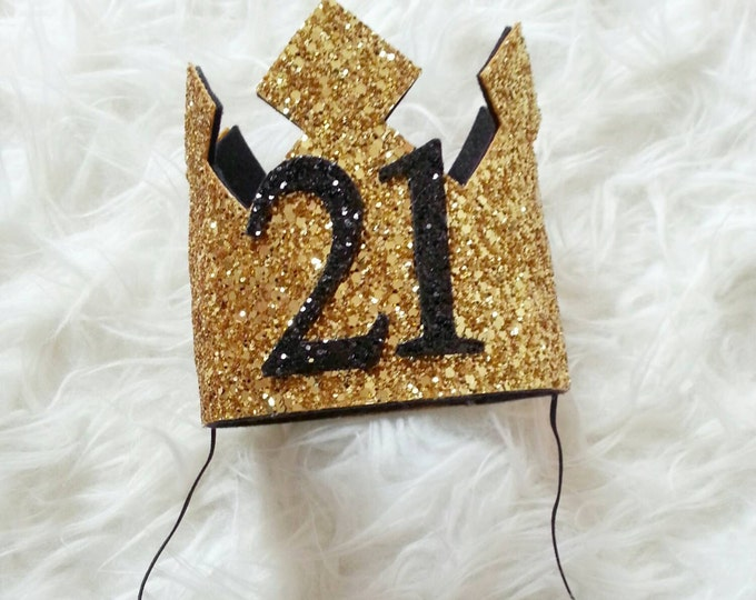 GLITTERY Gold and Black  21st Birthday Crown | Adult Birthday | Birthday Crown | Glitter Crown