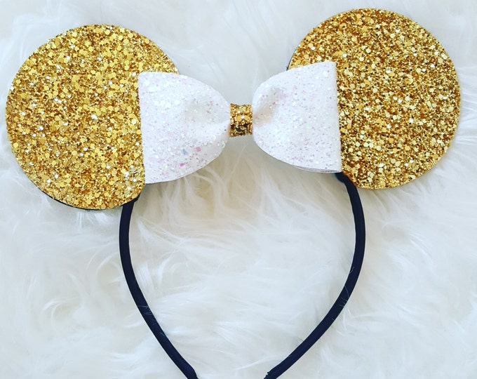 Mouse Ears Headband | Mouse Birthday | Mouse Headband |  Ears | Gold Mouse Ears | Gold  Ears
