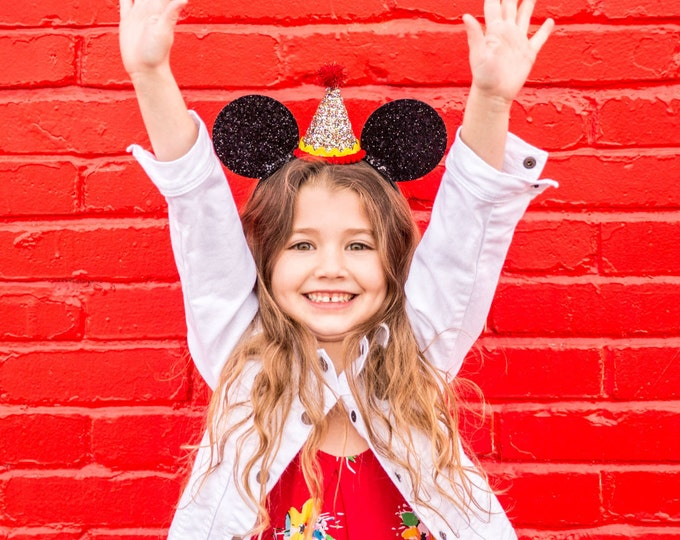 Glittery Mouse Ears Headband | Birthday Ears | Minnie Mouse Birthday | Minnie Mouse Headband | Minnie Ears, Mickey Mouse Birthday | Minnie