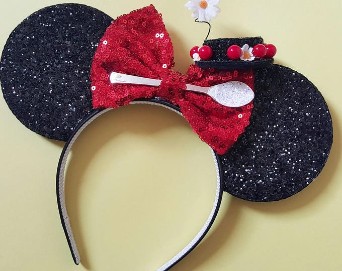 Mary Poppins Mouse Ears Headband | Spoonful of Sugar | Poppins Headband Ears | Spoonful of Sugar Mouse Ears| Mary Poppins