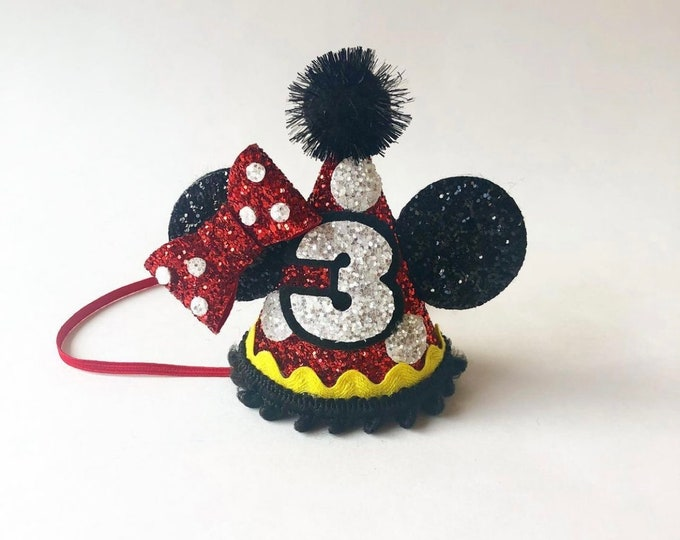 BIRTHDAY Mouse Ears Hat | Birthday | Ears | Mouse Birthday| | Mickey Style | Mouse Birthday