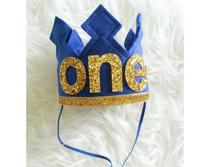 First Birthday Felt Birthday Crown | Royal Blue and Gold | Birthday Crown | Crown Headband | Baby Crown