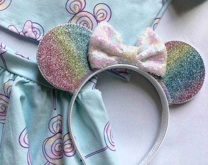 Glittery Rainbow Ombre Minnie Mouse Ears Headband || Mouse Ears  || Mouse Headband || Ears
