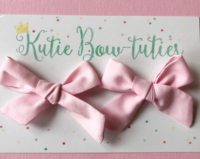 Pink Pigtail Bows Clip or Headband || Hand Tied Bow || Hand tied Pigtail Bow || Handtied || Large Bow || Cotton Candy Bow
