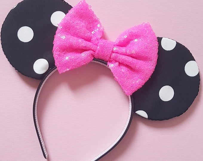 Polka Dot Mouse Ears || Mouse Ears || Ears || Polka Dot Ears || Mouse Ears Headband || Mouse Ears || Sparkle Mouse Ears || RTS