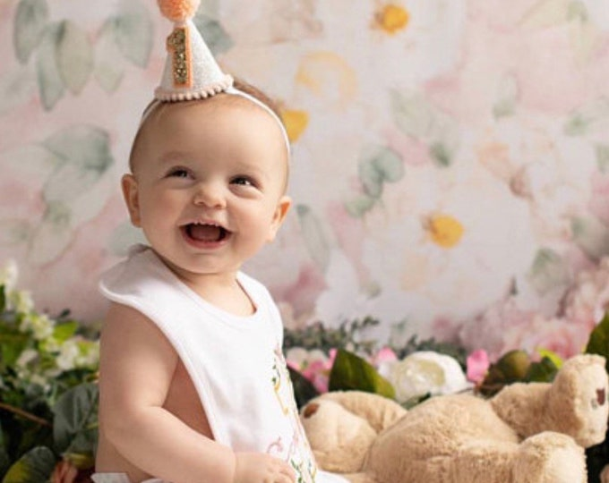 Mini Party Hat | Party Hat | Birthday Hat | First Birthday Hat | 2nd Birthday Hat | Peach and Gold Birthday Hat | Gold Birthday Hat
