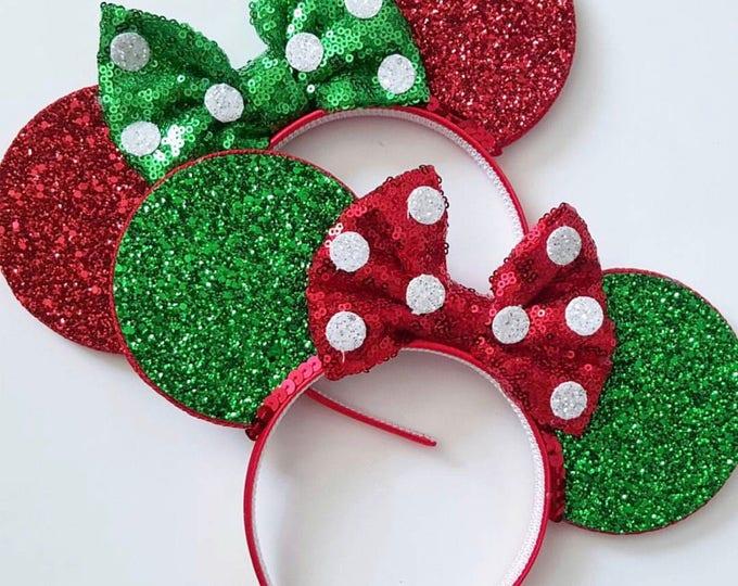 Christmas Minnie Mouse || Mouse Ears || Minnie Ears || Polka Dot Ears || Mouse Ears Headband || Minnie Mouse Ears || Sparkle Mouse Ears || R