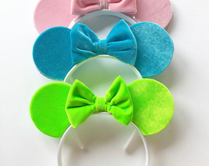 Velvet Minnie Mouse Ears || Velvet || Mint Mouse Ears || Leopard Mouse Ears || Mouse Ears
