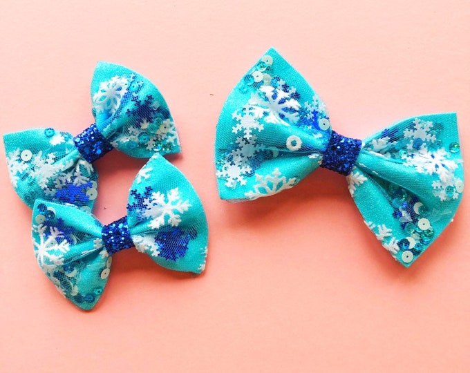 Confetti Christmas Bows || Flurry Bow || christmas hair bow || Baby Bow || Pigtail Bows