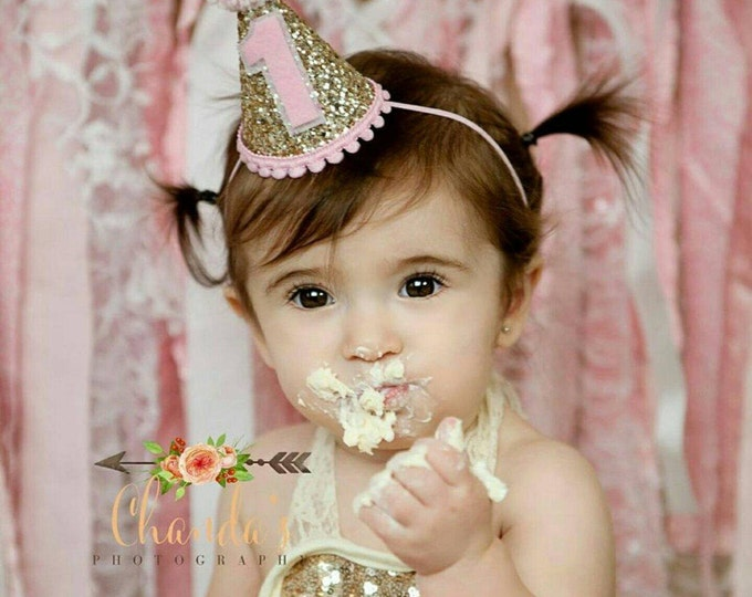 Mini Glittery Birthday Girl Party Hat | Birthday | Cake Smash | 1st Birthday | Baby Birthday | Ready to Ship