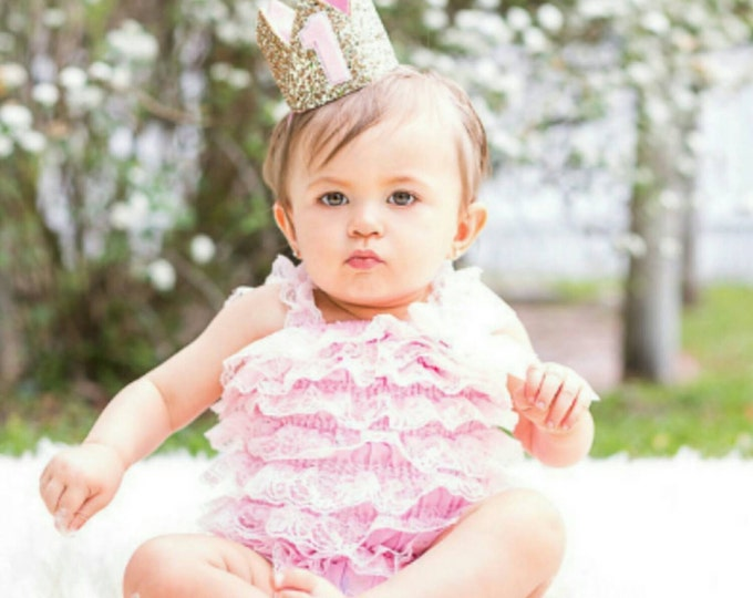 Glittery Pink and Gold 1st  Birthday Crown