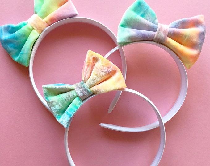Velvet Tie Dye Headband || Tie Dye Bow || Velvet ||  Tie Dye || Velvet Bow