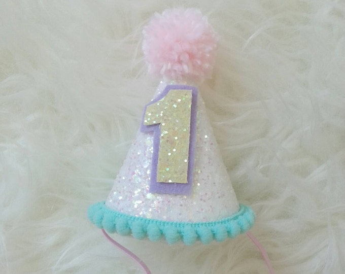 Birthday hat Unicorn Theme | First Birthday | Rainbow Birthday Party Hat | Cake Smash | Ready to Ship | 1st Birthday
