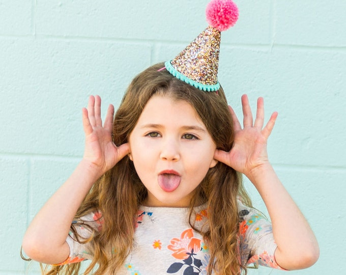 Glittery birthday Hat || Party Hat |  30th Birthday || First Birthday || 2nd Birthday || Birthday Party Decor