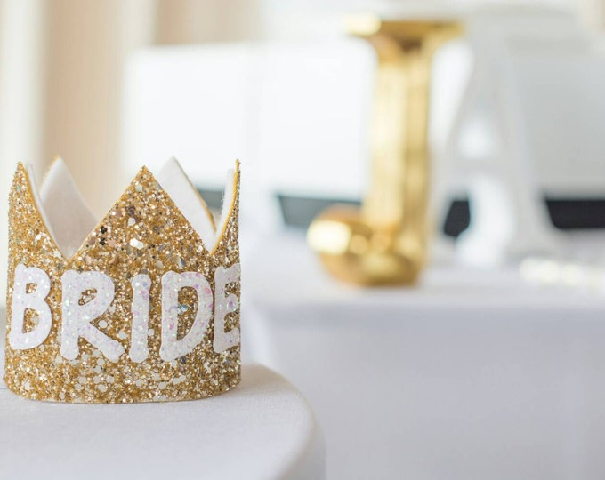 Bachelorette Party BRIDE Crown in Gold and White | Bridal Shower | Bride Crown | Birthday Crown