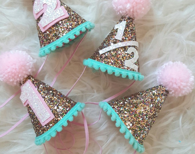 Mini Glittery Birthday Party Hat || Birthday, 2nd birthday || 1st birthday || Baby Birthday || Aqua and Pink ||  Party Hat || Ready to Ship