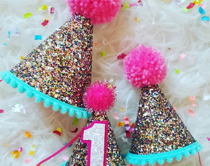 Glittery birthday Hat | Party Hat | 30th Birthday | First Birthday | 2nd Birthday | Birthday Party Decor