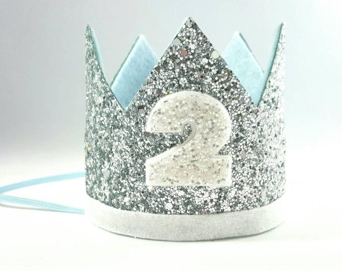 Birthday Crown || Blue and Silver Birthday || Silver Crown || Birthday Girl || 2nd Birthday || Baby Crown || Birthday