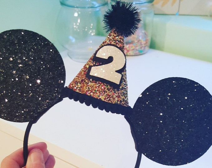 Glittery Mouse Ears Minnie Mouse Headband | Birthday Mouse Ears |  Mouse Birthday |