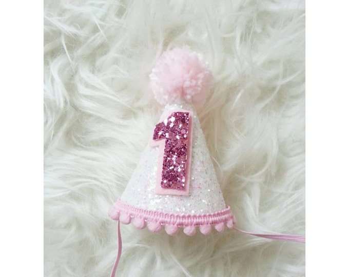 Mini Glittery Birthday Party Hat | Birthday Girl 1st Birthday Party | Cake Smash | 1st Birthday | Baby Birthday | Ready to Ship