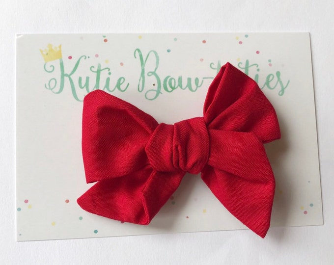 Red Bow Clip or Headband || Hand Tied Bow || Hand tied Bow || Handtied || Large Bow || Polka Dot Bow