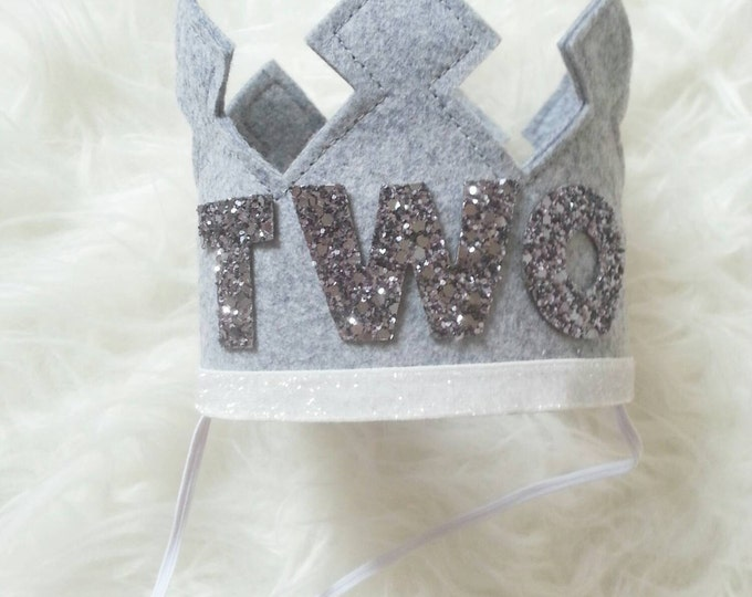 Birthday Crown | Baby Birthday Crown | Birthday Crown Gray | Felt Crown | Photo Prop Birthday | Ready to Ship, TWO crown, birthday