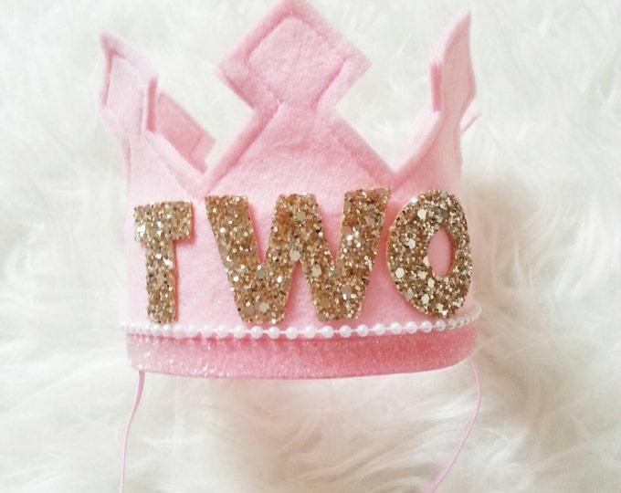Pink and Gold Birthday Girl Felt Crown   Felt Crown   Birthday Crown   2nd Birthday   Photo Prop   Photography Prop   Baby Birthday Crown