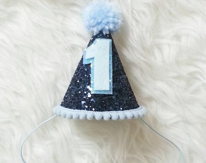Mini Glittery Boy Birthday Party Hat | Birthday | Cake Smash | 1st Birthday | Baby Birthday | Ready to Ship