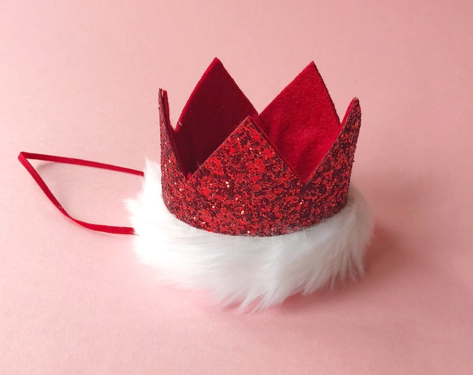 Christmas Birthday Crown || Santa Crown || Red Crown || Birthday Girl || First Birthday || Baby Crown || Birthday