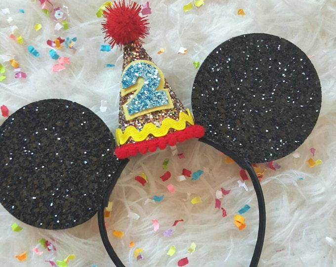 Glittery Mouse Ears Headband || Birthday Mouse Ears || Mouse Headban || Ears || Mouse Birthday