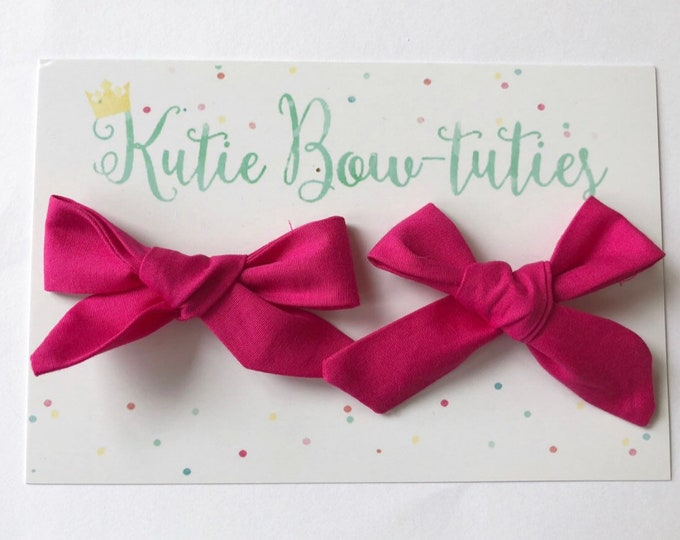 Yellow Pigtail Bows Clip or Headband || Hand Tied Bow || Hand tied Pigtail Bow || Handtied || Large Bow || Minnie Mouse Bow