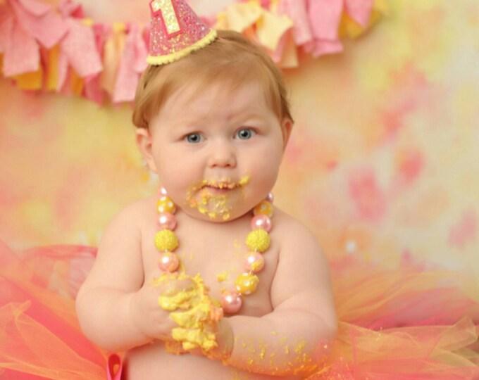 Mini Glittery Birthday Girl Party Hat | Birthday Cake Smash | 1st Birthday | Baby Birthday | Ready to Ship