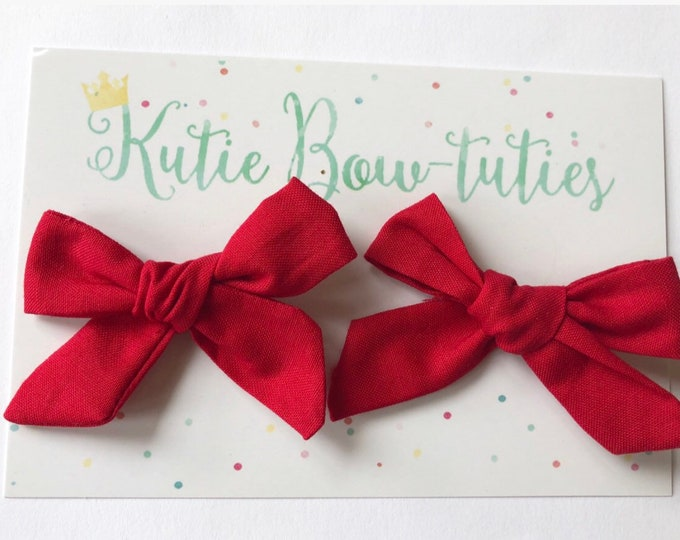 Red Pigtail Bows Clip or Headband || Hand Tied Bow || Hand tied Pigtail Bow || Handtied || Large Bow || Minnie Mouse Bow