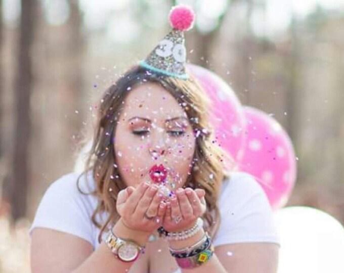 Glittery birthday Hat   Party Hat   30th Birthday   First Birthday   21st Birthday   Birthday Party Decor, 40th Birthday