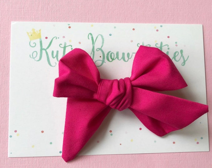 Hot Pink Bow Clip or Headband || Hand Tied Bow || Hand tied Bow || Handtied || Large Bow || Polka Dot Bow