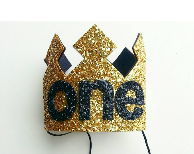 Birthday Crown | First Birthday Crown |Gold and Black Boy Birthday Crown | 1st Birthday | Cake Smash Prop
