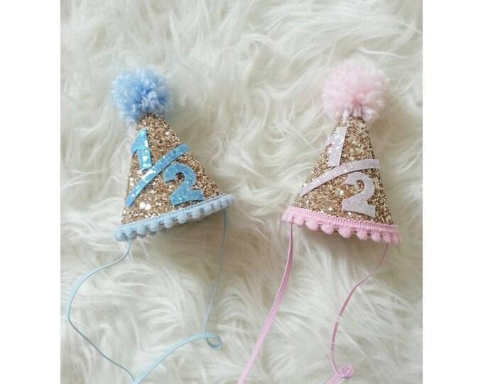Glittery 1 2 Birthday Mini Party Hats