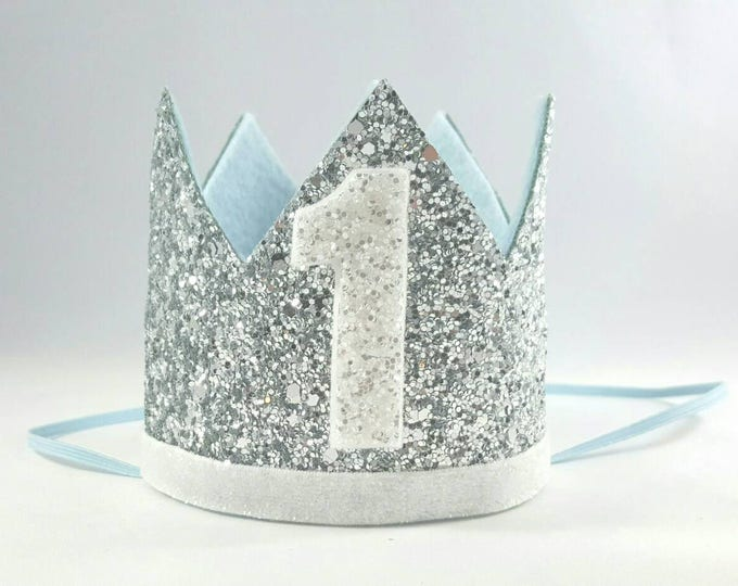 Birthday Crown || Blue and Silver Birthday || Silver Crown || Birthday Girl || First Birthday || Baby Crown || Birthday