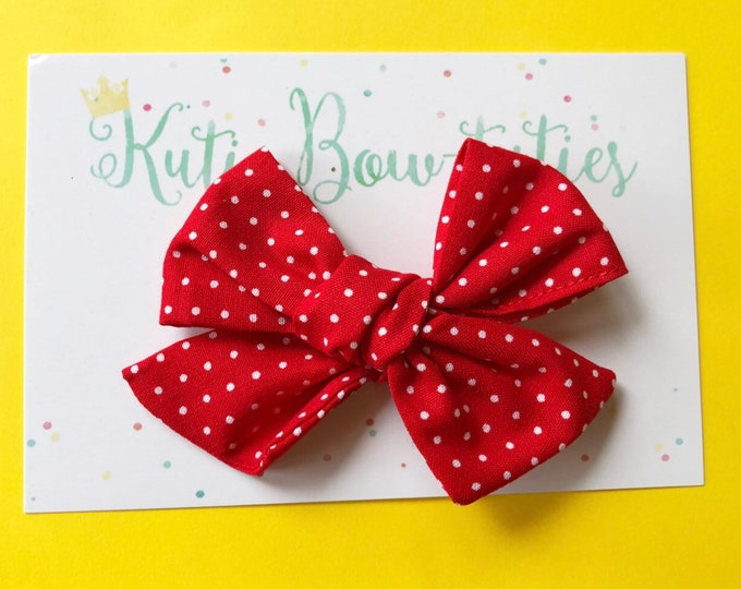 Minnie Mouse Polka Dot Bow Clip or Headband || Hand Tied Bow || Hand tied Pigtail Bow || Handtied || Large Bow || Polka Dot Bow