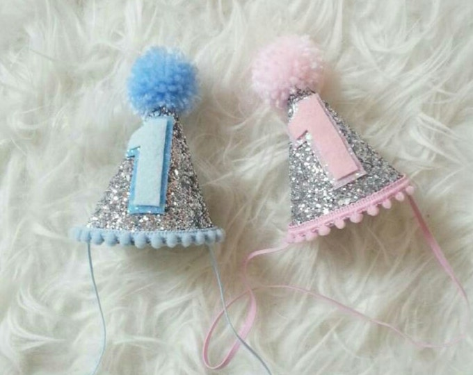 Glittery Mini Party Hats | Twin Birthday | Pink or Blue | First Birthday |  Party Hat | Cakesmash |  Boy/Girl Twins | Ready to Ship