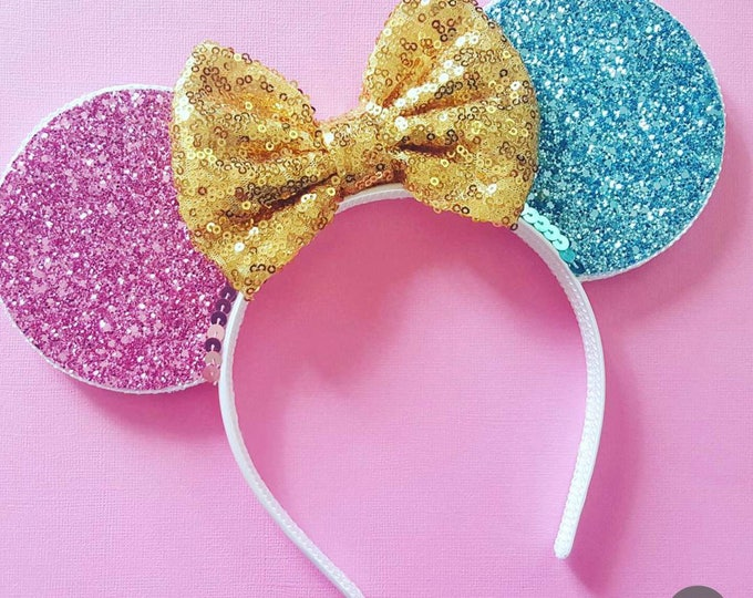 Sleeping Princess Mouse Ears Headband | Mouse Birthday |  Headband Ears | Mouse Ears| Make it Pink | Make it Blue