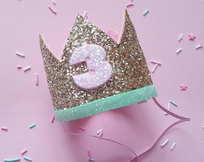 Birthday Crown || Pink and Mint Birthday || Gold Crown || Birthday Girl || 3rd Birthday || 3 Crown || Birthday Girl || third