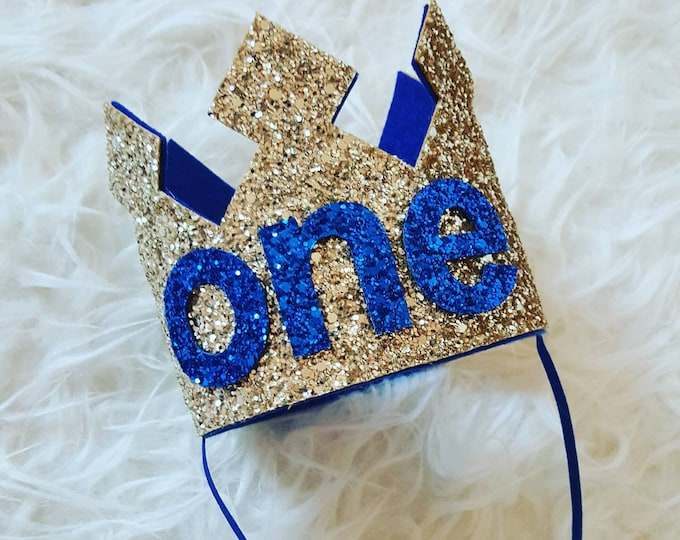 First Birthday | Birthday Crown | Baby Birthday Crown | Gold and Blue | Boys Birthday Crown | First Birthday | Photo Prop | Ready to Ship