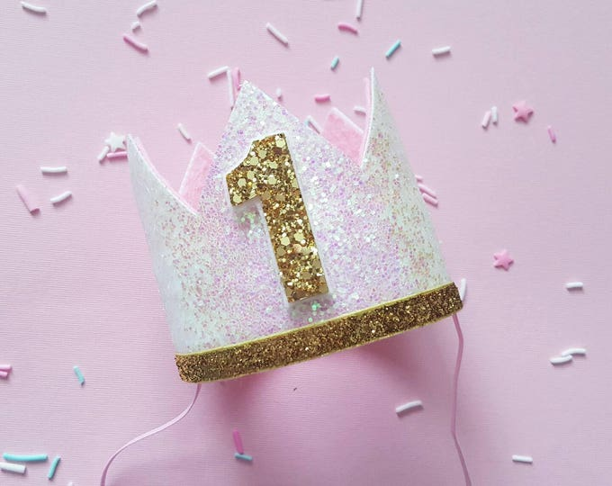 Glittery Birthday Crown | Birthday Crown | 1st Birthday Crown | Girl Birthday Crown | Baby Birthday | Pink and Gold | Ready to Ship