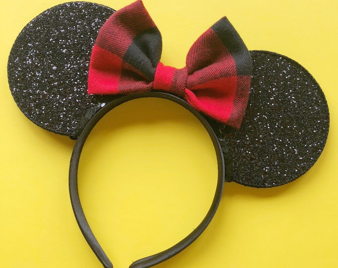 Christmas Minnie Mouse || Mouse Ears || Minnie Ears || Polka Dot Ears || Mouse Ears Headband || Minnie Mouse Ears || Sparkle Mouse Ears ||