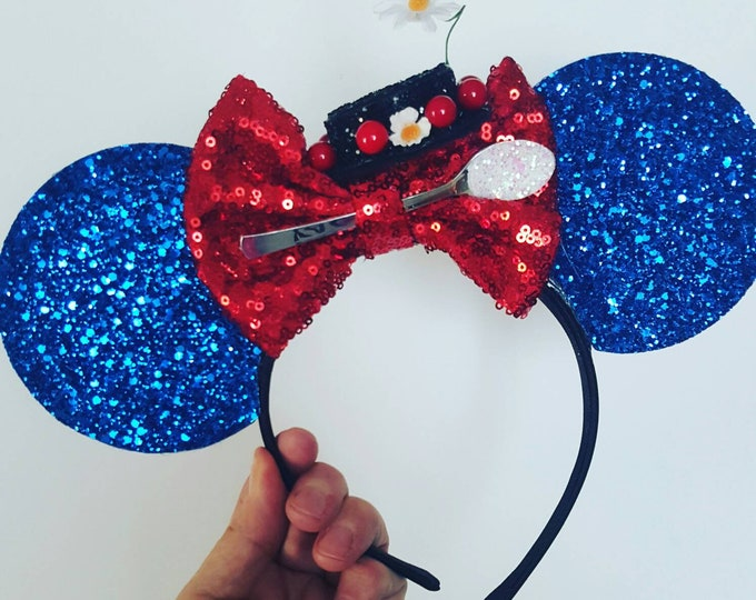 Mary Poppins Mouse Ears Headband | Spoonful of Sugar | Mary Headband Ears | Spoonful of Sugar Mouse Ears| Mary Poppins