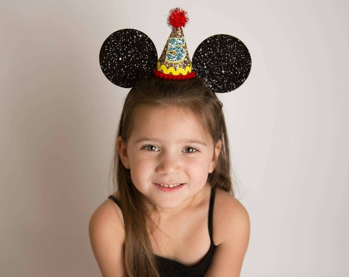 Glittery Mouse Ears Headband || Birthday Mouse Ears ||Mouse Headband|| Ears || Mouse Birthday ||